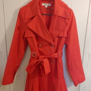 Via Spiga Trench Coat Like New Bright Red Button